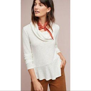 Anthropologie Maeve cowl neck cream sweater